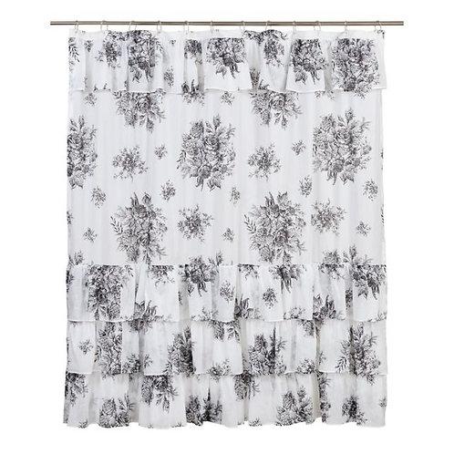 "Josephine Black Shower Curtain 72""x72"" #26086"