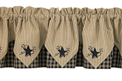 "Sturbridge Star Embroidered Point Valance - Black 72"" x 15"" #315-472XR"