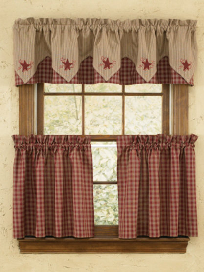 Sturbridge Star Embroidered Point Valance - Wine #315-472XS