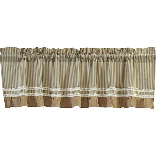 "Kendra Striped Green Valance 16""x72"" #37649"