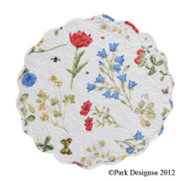 """Wildflower Scalloped Placemat -17"""" Round #135-01X"""