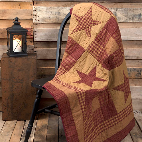 "Ninepatch Star Quilted Throw 60""x50"" #13613"