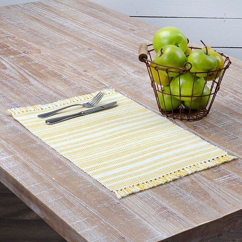 "Madeline Yellow Ribbed Placemat 12""X 18"" #33242"