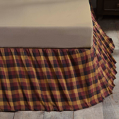 "Primitive Check Queen Bed Skirt 60""x80""x16"" #38002"