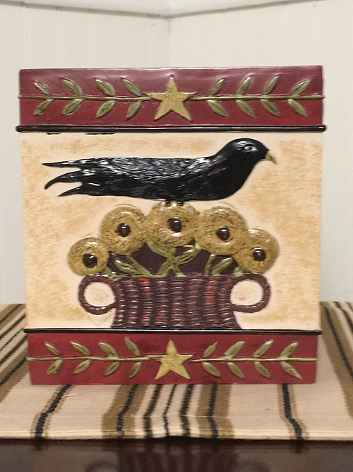 Folk Crow Tissue Box Cover #390-636