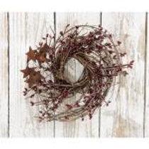 """Burgundy Pip & Star Twig Wreath, 10"""" #FT125B"""
