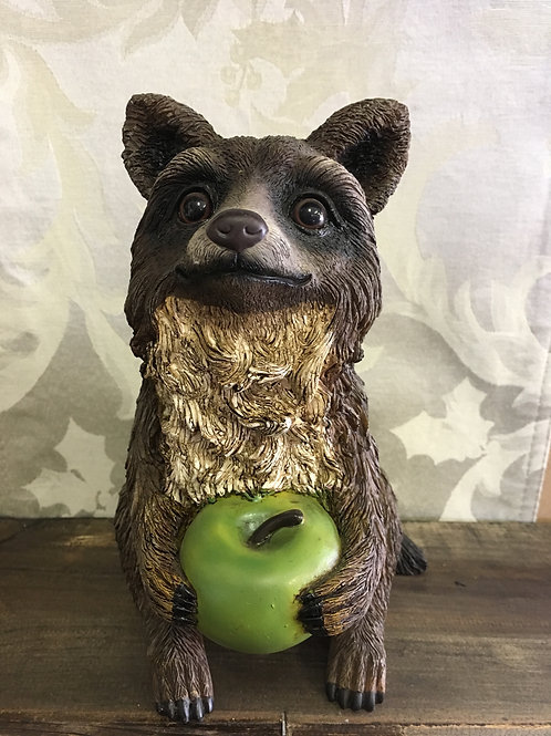 "Resin Racoon with Apple 8""tall"