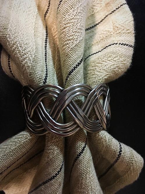 Basket Weave  Napkin Ring Pewter #946-75S