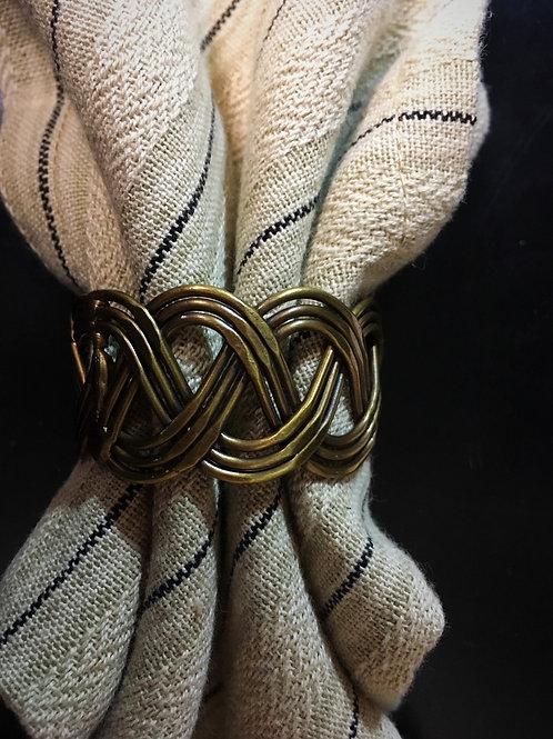Basket Weave Napkin Ring Antique Brass #946-75A