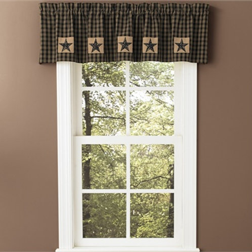 "Sturbridge Patch Lined Valance - Black 60"" x 14"" #316-476R"