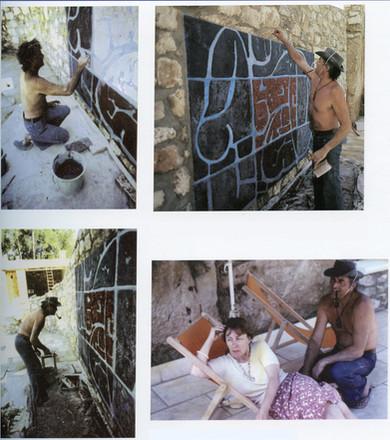 En haut à droite: Baigneuse aquatique, relief polychrome, Hôtel La Peiriero, Fontvieille - 1977  En bas à droite: Thérèse et Guy Renne devant l'oeuvre en cours - 1977