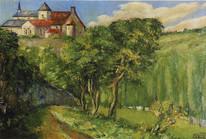 Carte - Vue de l'abbaye de Chantelle - huile sur