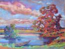 #1226 - La barque l'étang au couchant