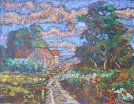 #1230 - Chemin maisons arbres au couchant