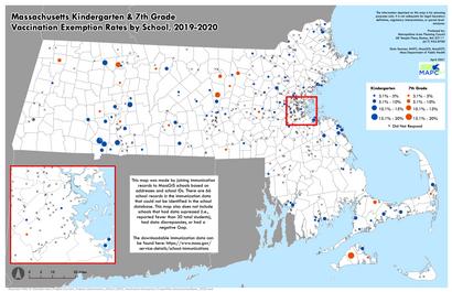 Massachusetts Immunization Exemption Rates for Kindergarten and 7th Grade Programs by School, 2019-2020
