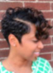 African Amercan, Black female, haircut, profile, bang