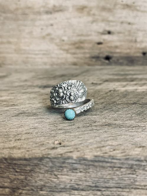 Sterling Floral Spoon Ring
