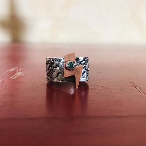 Lightning Bolt Ring w/ Turquoise