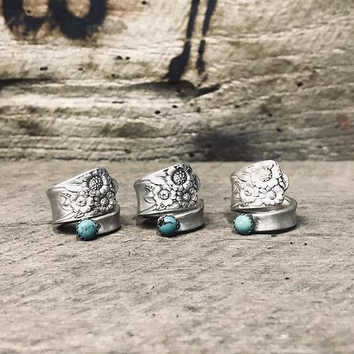 Flower Sterling plated spoon rings