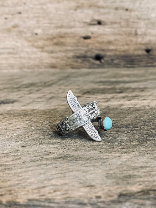 Thunderbird Sterling Turquoise Spoon Ring