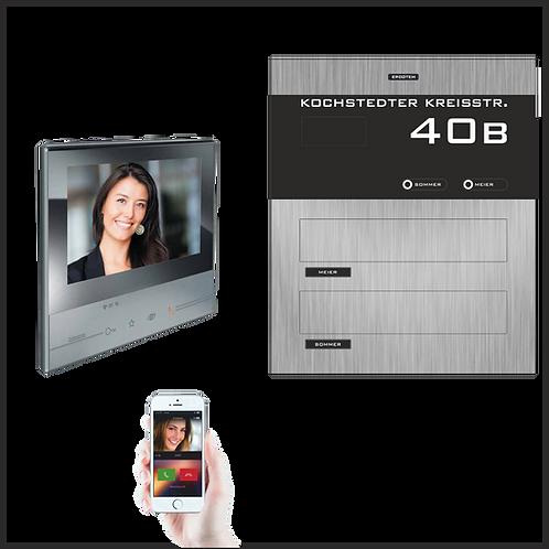 Mauerdurchwurf-Briefkasten 2-Familien TSW 20 mit Video-Türsprechanlage