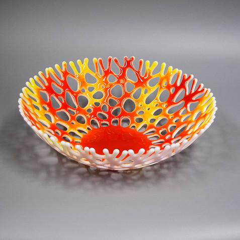 Beach Themed Glass Art Coral Bowl | Functional Art Fruit Bowl