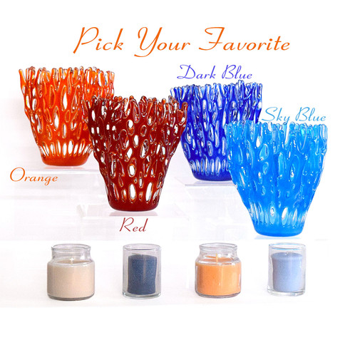 Fused Glass Art Coral Candle Holder | The Glass Rainbow