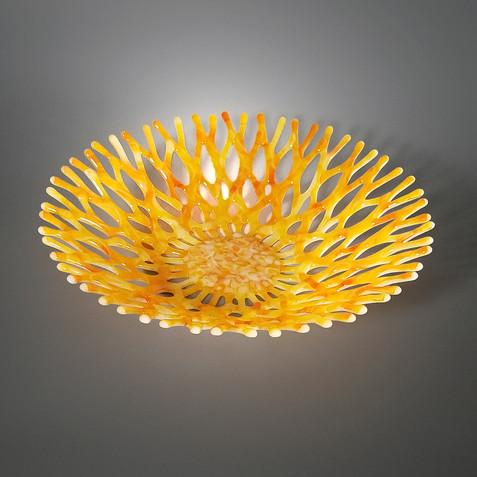 Fused Glass Art Coral Fruit Bowl | Ocean Life Surf Decor