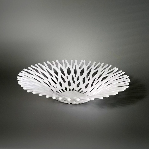 Fused Glass Art White Fruit Bowl Centerpiece | Beach Decor & Gifts