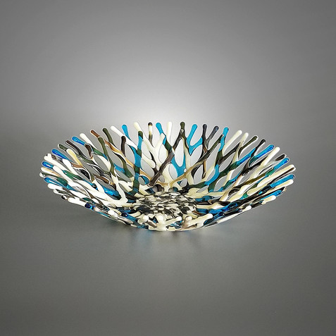 Glass Art Coral Fruit Bowl in Ivory Turquoise Blue and Brown