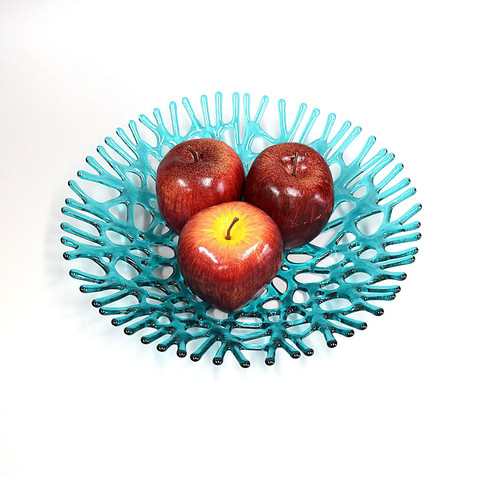 Aquamarine Blue Green Glass Art Coral Bowl | Sea Glass Art Gifts