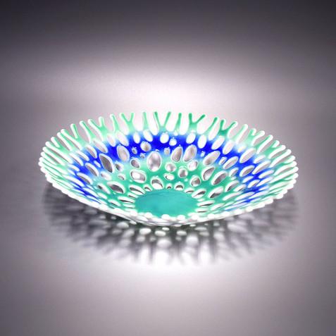 Beach Themed Glass Art Fruit Bowl in Aqua Green and Cobalt Blue