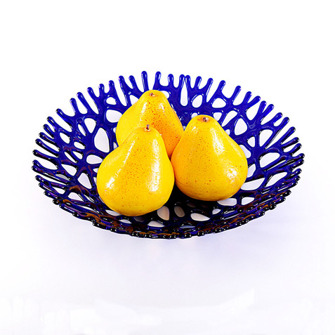 Cobalt Blue Beach Themed Fruit Bowl | Coastal Décor Sea Glass Gifts