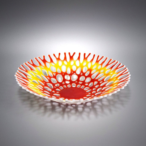 Sustainable Coral Reef Glass Art Decor | Fruit Bowl Red White  Yellow