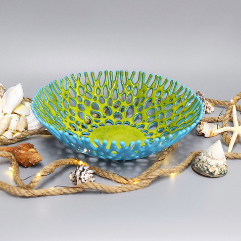 Fused Glass Art Coral Bowl | Sustainable Coral Reef Gift Ideas