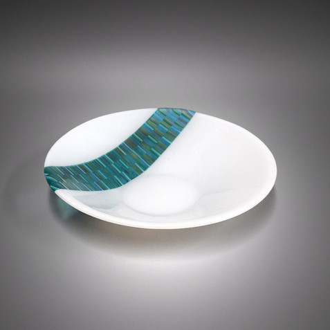 Fused Glass Art Teal White Serving Bowl Fruit Bowl | The Glass Rainbow