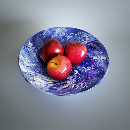 Fused Glass Art Fruit Bowl Centerpiece in Cobalt Blue and White