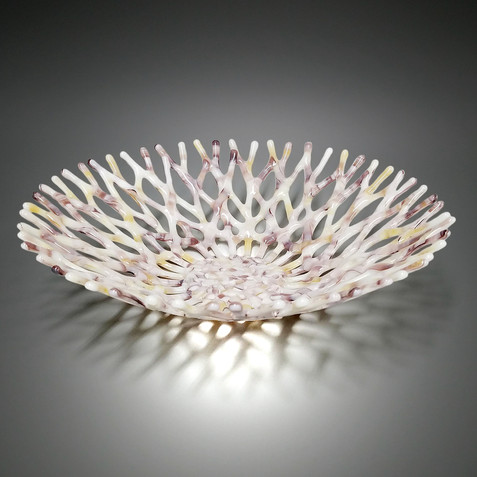 Fused Glass Art Coral Bowl in Ivory Lavender Purple and Golden Amber