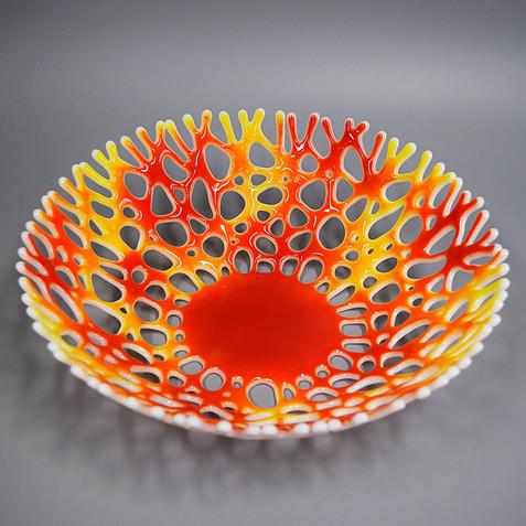 Beach Themed Glass Art Fruit Bowl | Sea Glass Art Centerpiece