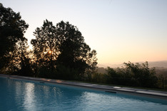 Sunrise over the swimming pool