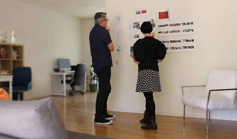 Branding experts collaborating on new website design concept