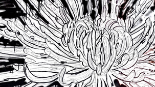 Chrysanthemum 2020 (ink, markers and spray on paper stretched on wood panel, 120x90cm)