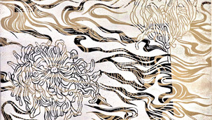 Chrysanthemum 2020 (linocut multilayer on paper stretched on wood panel, 40x60cm)