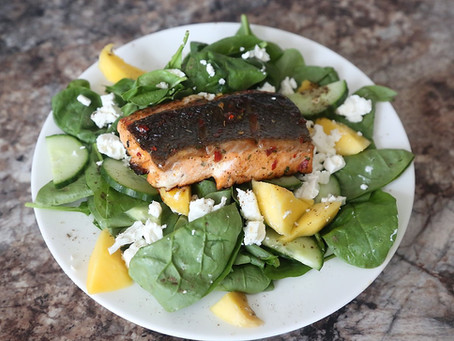 Honey Glazed Pan-Fried Salmon Fillet Salad