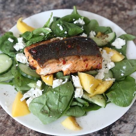 Honey Glazed Pan-Fried Salmon Fillet Salad