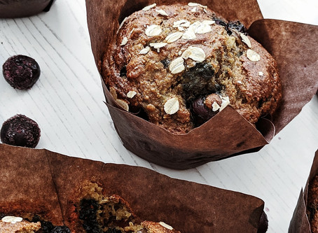 Organic Wholemeal Blueberry Banana Cinnamon Muffins