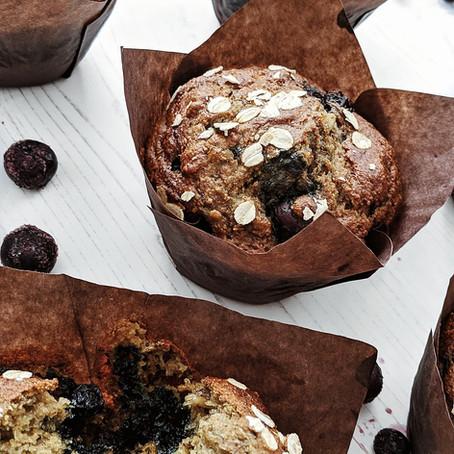 Organic Wholemeal Blueberry Banana Cinnamon Muffins