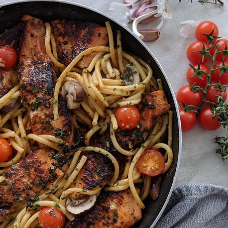 Grilled Honey Salmon Pasta