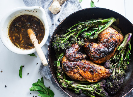 Roast Chicken with a Sticky Ginger Honey Sauce