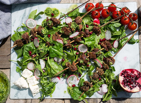 Grilled Lamb Skewers with Chimichurri Sauce